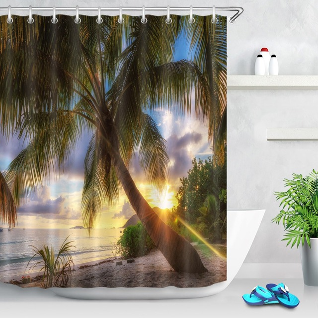 Ocean Palm Tree Tropical Island Beach Sunset Shower Curtain Custom For Bathroom Decor Waterproof Polyester Hooks Set