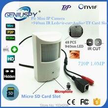 720P Pir Style Mini IP Camera 940nm IR Night Vision Pinhole IP Cam Indoor CCTV Security Network Camera 3.7mm Lens SD Card Slot