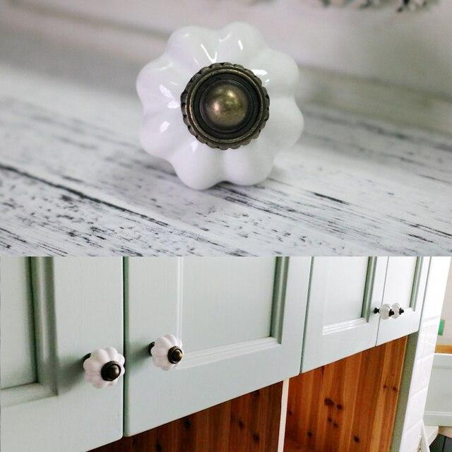 Blanco vintage calabaza cerámica perillas gabinete maneja Muebles ...