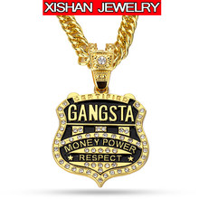 Latest Arrivals Fashion Personalized Badge Pendant Necklace Shining Crystal  Jewelry Trendy Hip Hop Gangsta Rap Necklace Men ffac102859eb