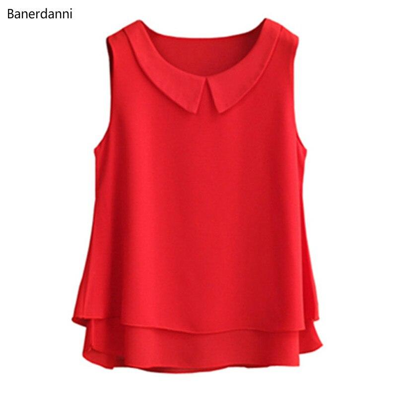 Mode femmes blouses sans manches col claudine chemise pour les femmes en mousseline de soie Blouse grande taille 5XL blusas mujer de moda 2019