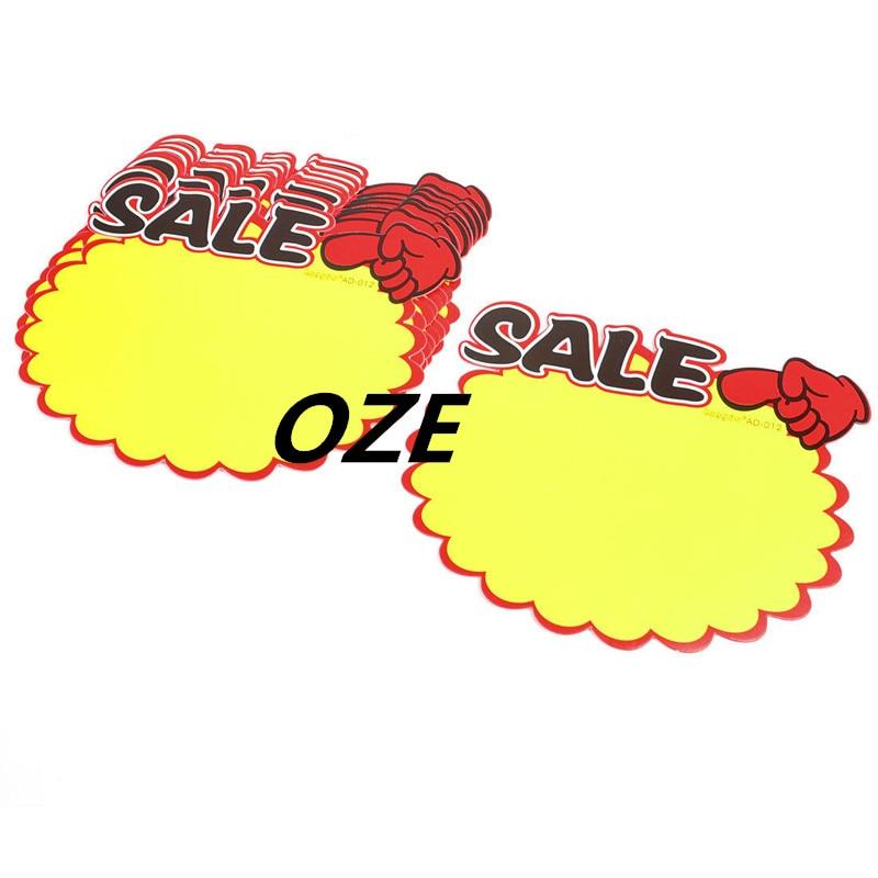 10pcs Shop Sale Index Finger Up Gesture Pattern Price Tags POP Paper Cards Sign