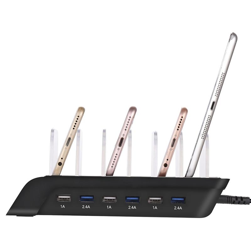 6-Port USB Chargeur Mobile Téléphone Station De Recharge 2.4A * 3 1A * 3 Smart IC Chargeur Multi-Dispositif HUB Charging Dock (US Plug) Pour iphone