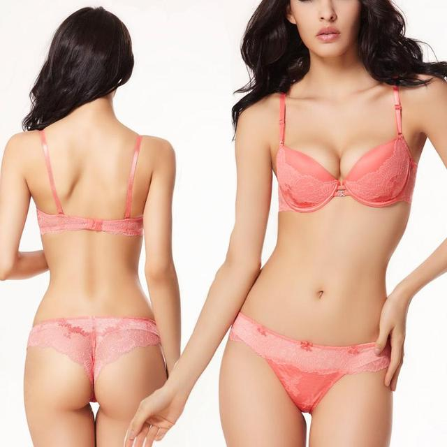 086a39a7c854d Brand Lace Bra Set Pink Women Underwear Lingerie vs Intimates Cotton Padded Push  Up Brassiere Silky White Bras And Thong Sets