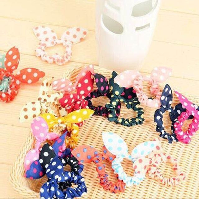 10 pcs Women Girl Rabbit Ear Scrunchie Hair band rope Elastic Tie Ponytail Holder Accessories