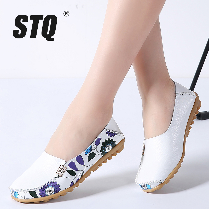 STQ 2019 Spring women flats genuine leather shoes slip on ballet flats ballerines flats woman shoes moccasins loafers shoes 170(China)