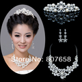 Pearl Crystal Necklace Earrings Bridal Accessories Piece Set With Shiny Crown Hair Ornaments For Wedding Jewellry