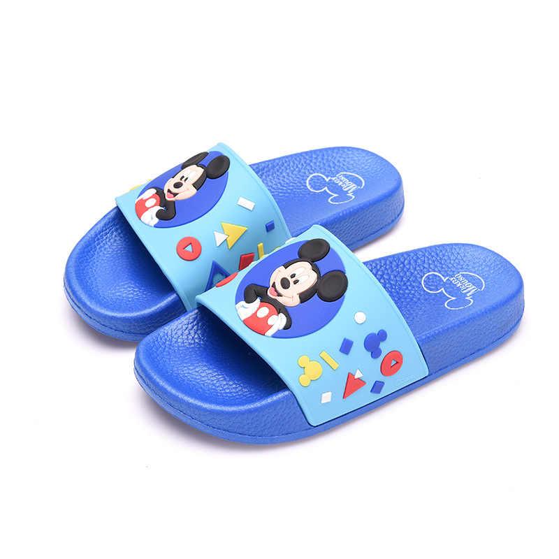 2019 เด็กชายหญิงรองเท้าแตะรองเท้าแตะเด็กฤดูร้อนMickeyบ้านลื่นรองเท้าแตะMinnieรองเท้าเด็ก 17-22 ซม.สีฟ้าสีชมพูสีม่วง