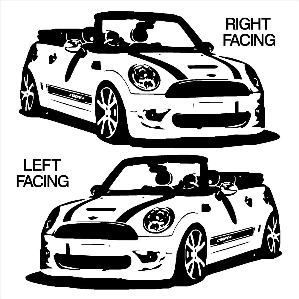 fashion car wall sticker mini cooper convertable vinyl wall art car sticker room decal diy living room wall paper mural d 23 in wall stickers from home  [ 1000 x 1000 Pixel ]