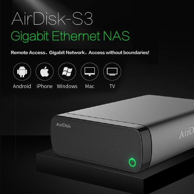 Disco Duro de red móvil Airdisk S3 USB3.0 familia de almacenamiento en la nube de red inteligente remotamente caja de disco duro móvil (no HDD)