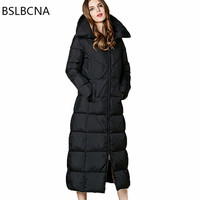 Extra Long Down Jacket Winter Women Coat Bodycon Thickening Plus Size Elegant Parka Black European Vintage Clothes Female A264