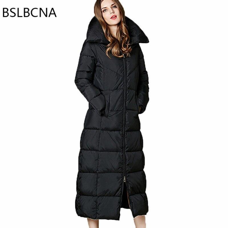 Extra Long doudoune Hiver manteau femmes Moulante Épaississement grande taille Élégant Parka Noir Européenne vêtements vintage Femelle A264