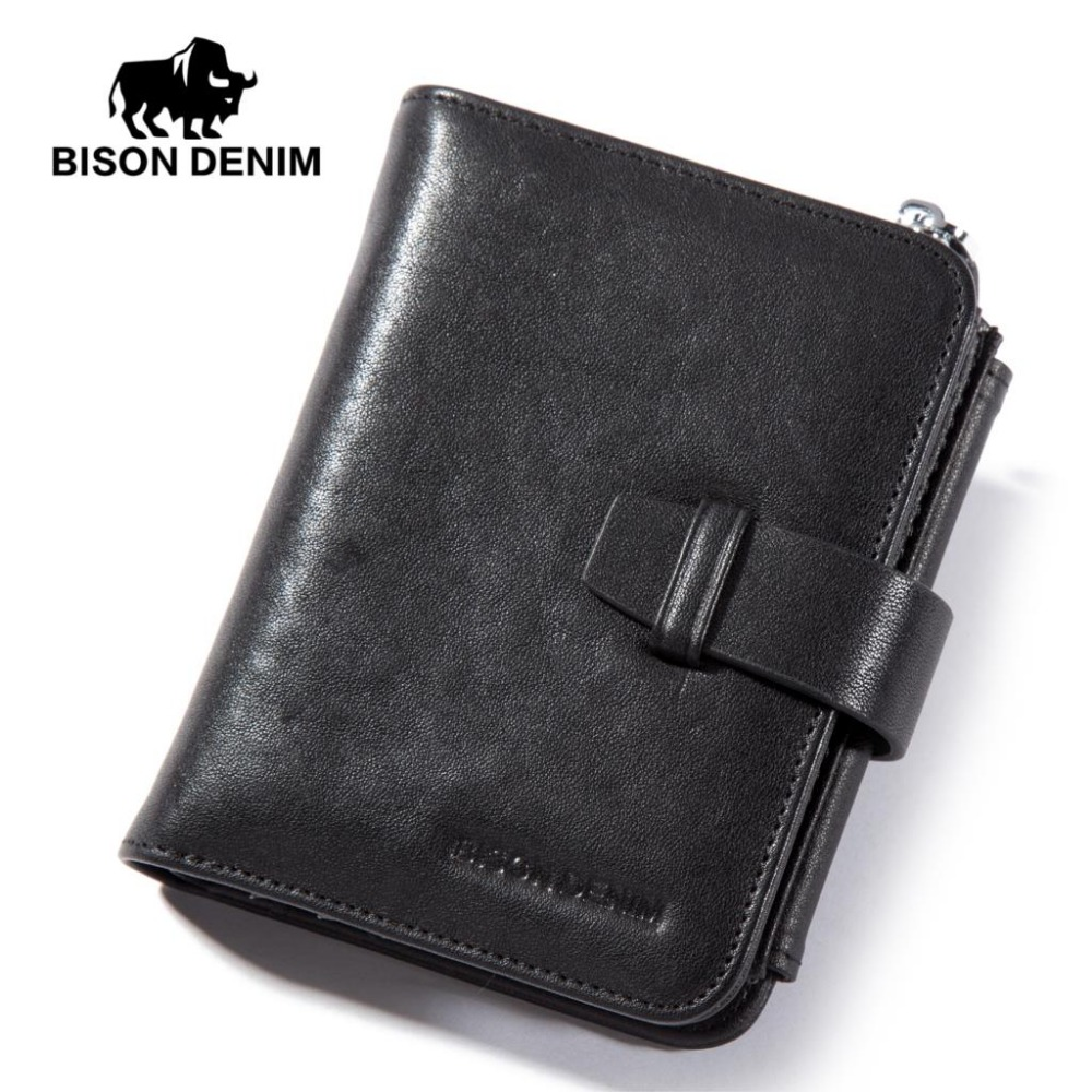 BISON DENIM luxury brand men wallets genuine leather male trifold wallet zipper card holder purse with coin pocket bison denim brand genuine leather wallet men clutch bag leather wallet card holder coin purse zipper male long wallets n8195