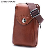 CHEZVOUS Belt Phone Case For IPhone 5s 6 7 8 X Universal Genuine Leather Cell Phone