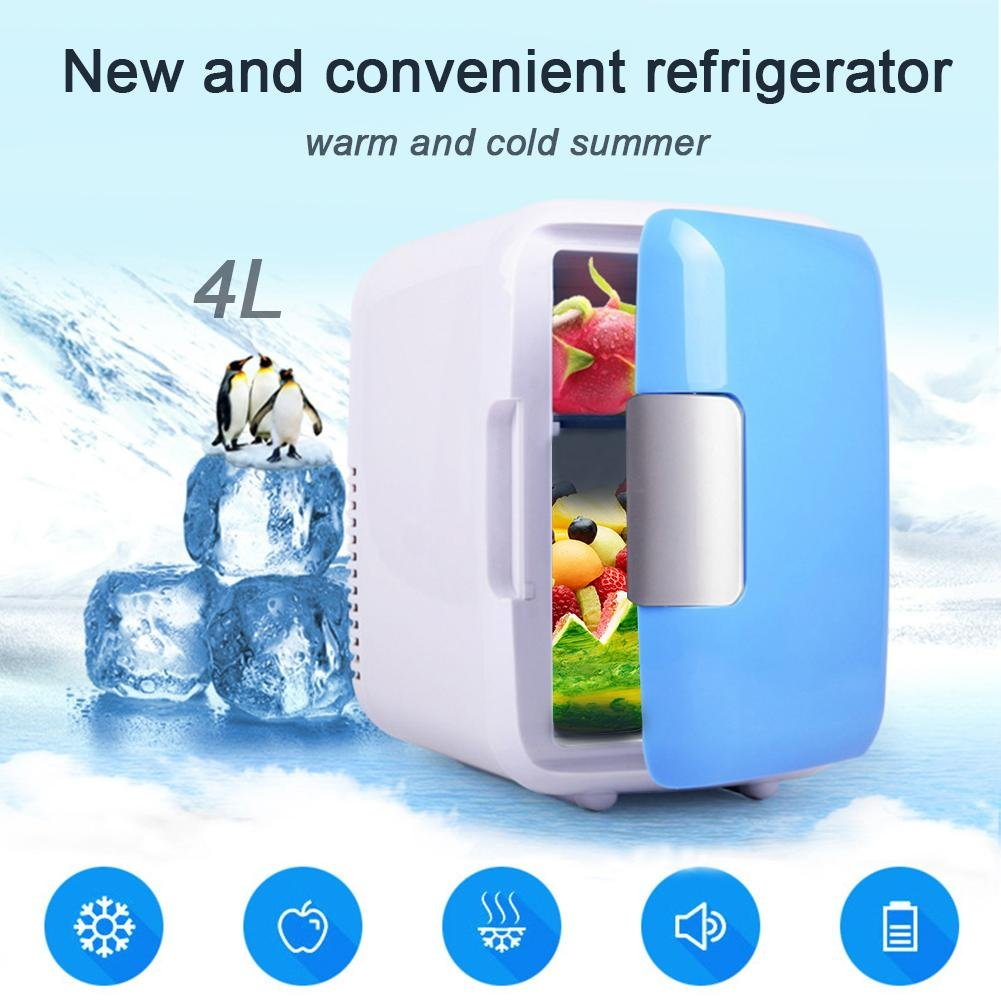 Mini Car Fridge 4 Liters Portable Refrigerator Cooler and Warmer with AC DC Power Cords Super Quiet in Vehicle Freezer for Car in Refrigerator Parts from Home Appliances