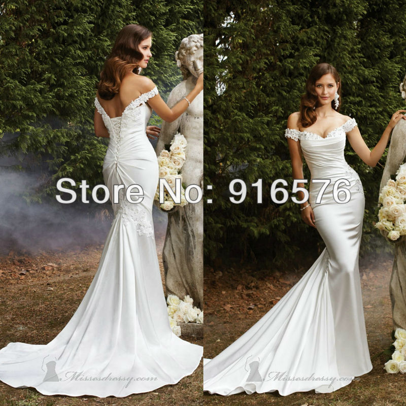 bdd147f5b70c6 Sweetheart Lace Up Corset Closure Floor Length Long Mermaid Wedding Gowns  With Sleeves Off The Shoulder
