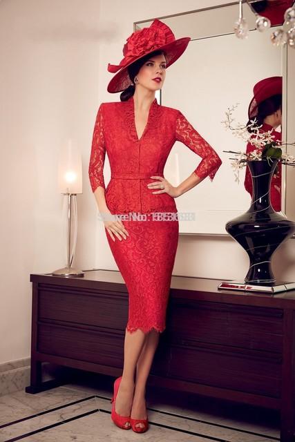 2017 Mãe Da Noiva Vestidos Bainha 3/4 Mangas Laço Vermelho Na Altura Do Joelho Curto Mãe Vestidos Vestidos de Noite Para Casamentos