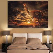 HD Print Llama Dusk Sunset Clouds Landscape Painting on Canvas Art Animal Wall Picture Modern Cuadros Decor For Living Room