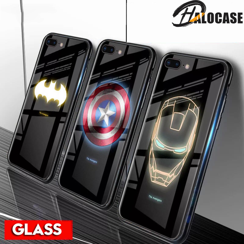 Luxury Luminous Tempered Glass Case For iPhone XR Marvel
