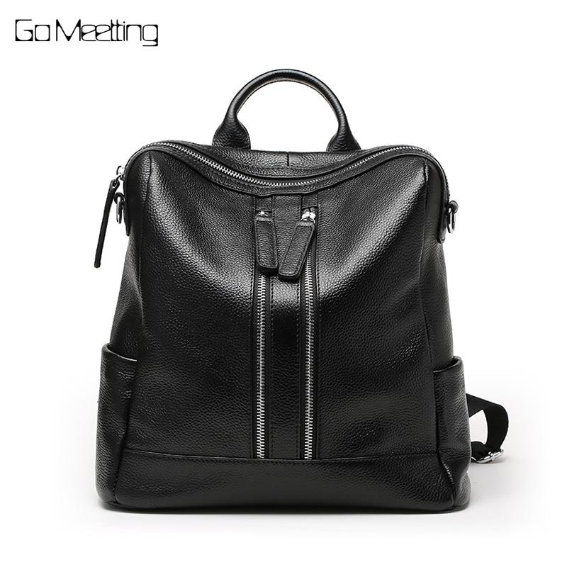 Fashion Genuine Cow Leather Women Backpack Knapsack Preppy Style Girl's Schoolbag Travel Bag bagpack sac a dos mochila feminina