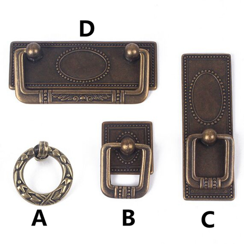 Rustico vintage furniture handles bronze shaky drop rings for Furniture handles