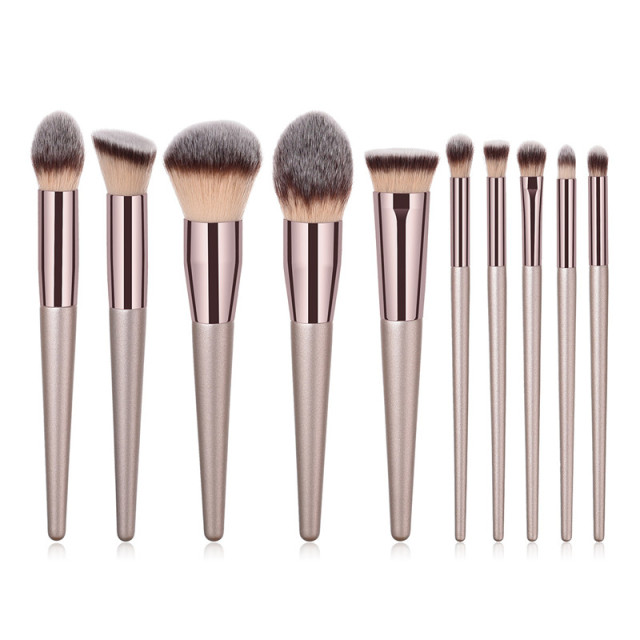 4/10pcs Champagne makeup brushes set for cosmetic  5