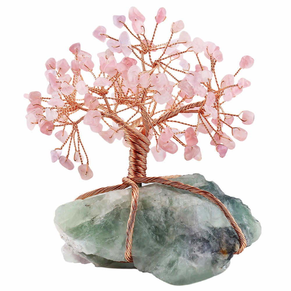 Natural Raw Fluorite Base Copper Wire Wrapped Rose Quartz Chips Stone Money Tree Bonsai Lucky Feng Shui Figurine Ornament chinese white copper silver feng shui yuanbao wealth money horse carriage statue
