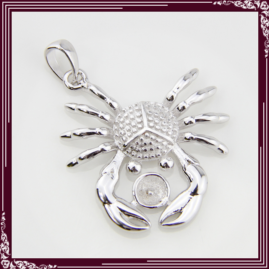 hot selling 925 Sterling Silver Crab Shape Pendant Fittings 5pcs, can fix pearl
