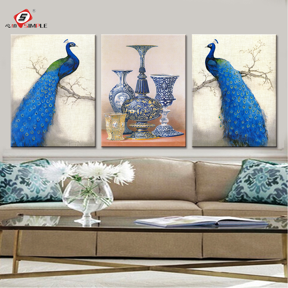 Peacock colors living room decor - Canvas Prints Peacock Framed Canvas Painting Decorative Wall Art Wall Pictures For Living Room 3 Pieces Wedding Decoration