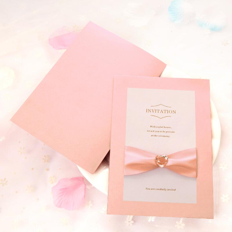 30pcs Lot Elegant Engagement Wedding Invitation Card Folding Design Ribbon Bow Vintage Birthday Party Invitations In Cards From Home Garden
