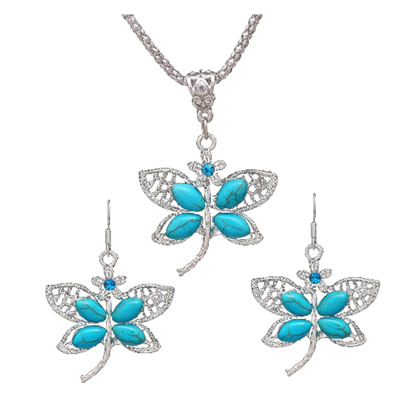 Turquoise Crystal Dragonfly Pendant Necklace Earrings Jewelry Set for Women (Ancient silver)