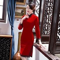 Autumn Winter New Arrival Chinese Traditional Style Dress Women's Mini Cheongsam Velvet Slim Qipao Clothing Size M L XL XXL XXXL