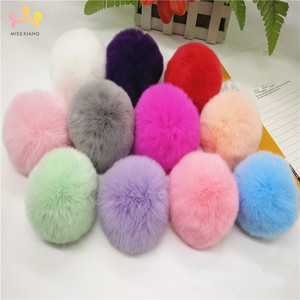 Missxiang Big 8CM Fur PomPom KeyChain Rabbit Hair Bulb Bag pom pom Ball key chain DIY Pendant poret clef for women Lovely Fluffy(China)