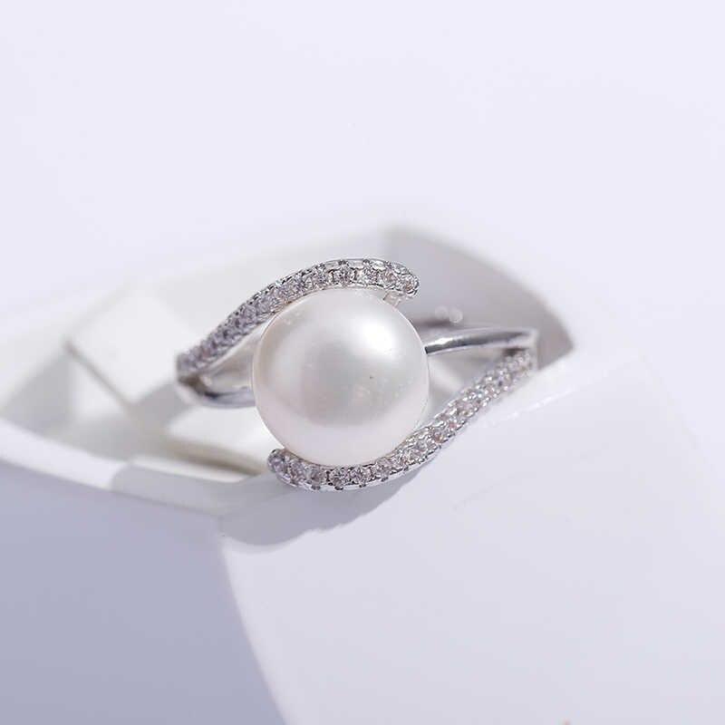 2019 sprzedaż marka projekt oryginalna 925 Sterling Silver Ring biżuteria Pearl 9-10mm słodkowodna pierścionek z perłą