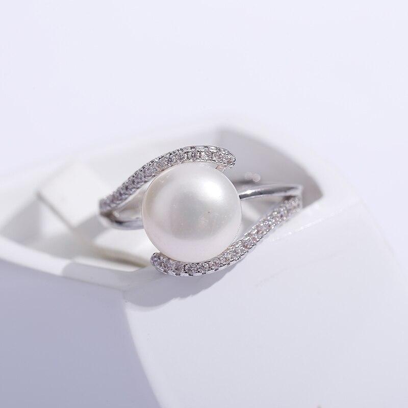 2019 vente marque Design véritable 925 bague en argent Sterling bijoux perle 9-10mm perle d'eau douce anneau