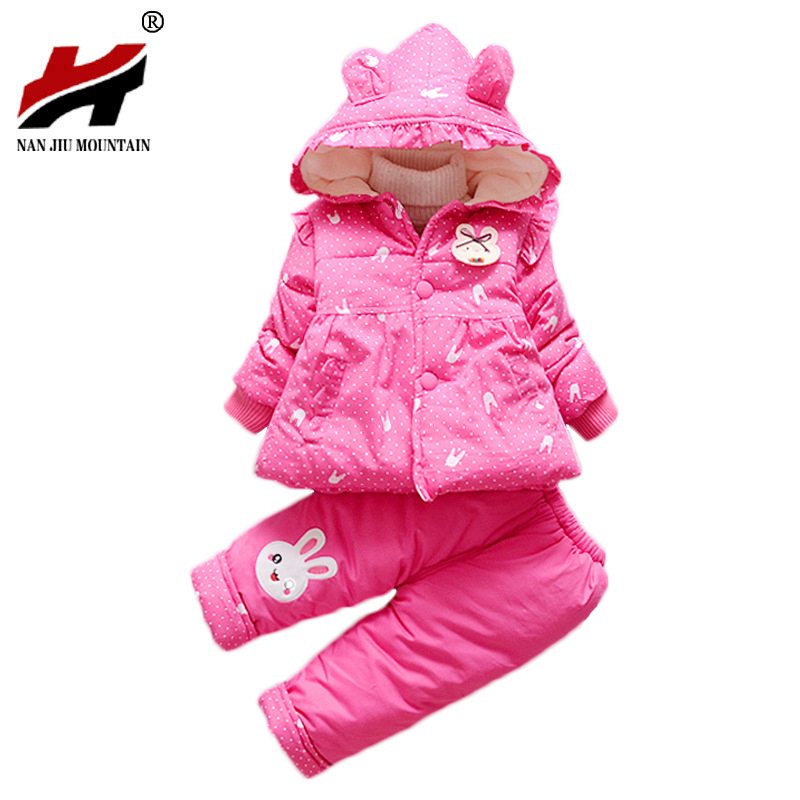 2017 Winter New Girl Cotton Suit 1-3 Year Old Female Baby Thickened Small Rabbit Cotton Jacket Children Two Sets