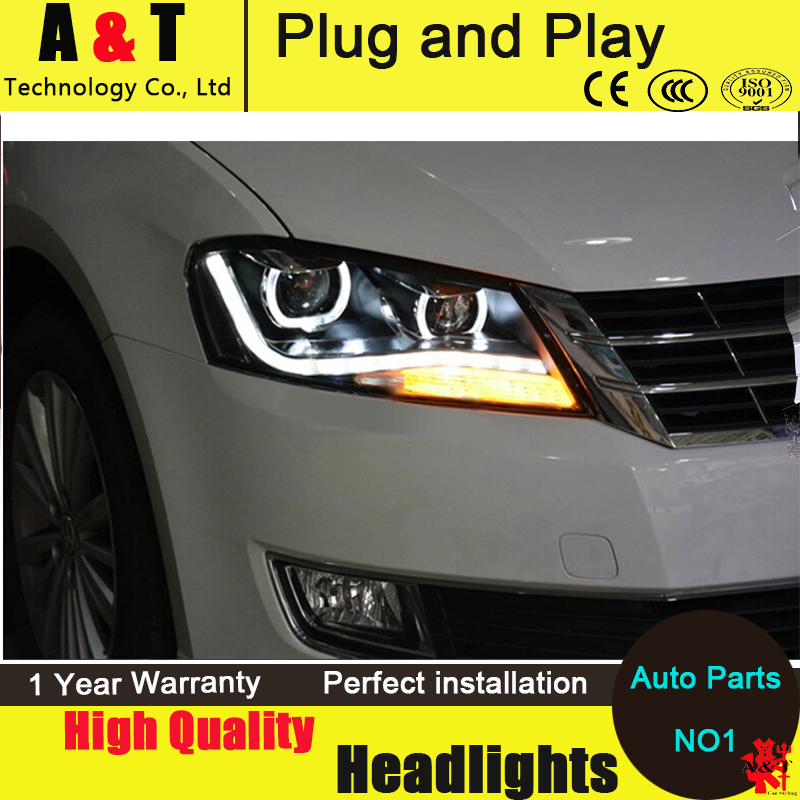 Car Styling LED Head Lamp for VW Passat B7 led headlight assembly 2012-2014 US Type Volks Wagen drl H7 with hid kit 2 pcs. car styling head lamp for bmw e84 x1 led headlight assembly 2009 2014 e84 led drl h7 with hid kit 2 pcs