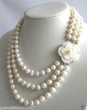 natural Jewelry 3Row 7-8mm White Freshwater Pearl Necklace Shell Clasp Quartz Fine  Plated gold Bridal wide watch wings queen