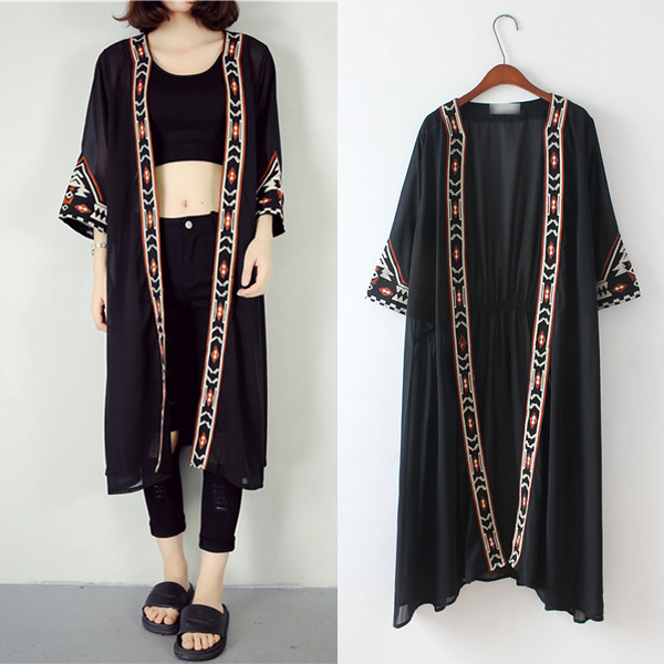 Fashion 2017 New Fashion Black White Kimono Cardigan Women ...