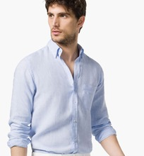NEW Men Summer Stylish Slim Fit pure cotton light blue button down collar Dress Shirt Male Leisure shirts