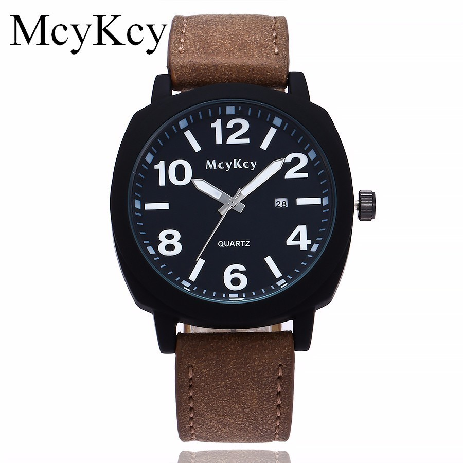 McyKcy Brand Men Watch Luxury Men Military Watches Fashion Male Leather Sports Quartz Wristwatches Clock Relogio Masculino Hot