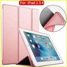 ZOYU Caso para el ipad 2/3/4 PU Trasera Transparente para iPad 2 caso Ultra Delgado Ligero Trifold Caso Elegante de La Cubierta para el ipad 2 caso