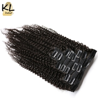KL Hair Brazilian Kinky Curly Virgin Hair Clip In Human Hair Extensions Natural Color Clip Ins