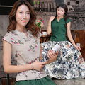 2017 summer cotton and Linen women's top cheongsam chinese style national trend short-sleeve top vestidos