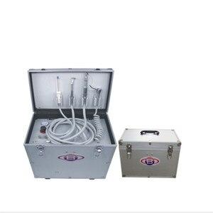 Unidade dental portátil com compressor de ar sem olho, seringa de três vias, compressor de ar sem óleo, garrafa de água, sistema de sucção,
