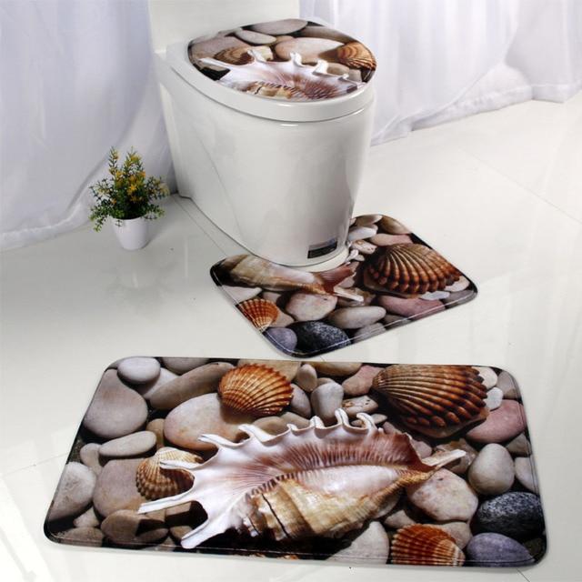 3pcs/set Ocean Pattern Bath Mat Bathroom Anti-slip Mat Set Flannel Absorbent Toilet Seat Cover Rug Bathroom Accessories