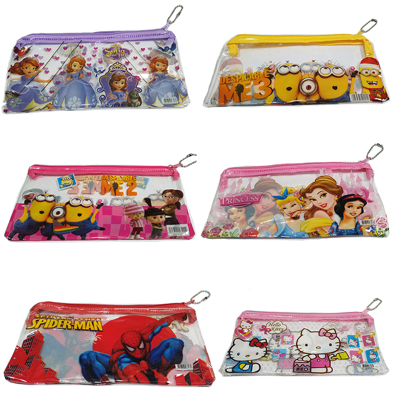 3pcs/set Pvc Kawaii Pencil Case Cute Kids School Supplies Set Cartoon Minion Pencil Case& Bag For Boys& Girls