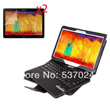 Wireless Removeable Bluetooth Keyboard Leather Case Cover For Samsung Galaxy Note 10.1 2014 Edition P600 P601 +2* Matte Films