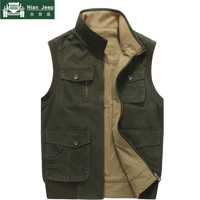 3b868485434fb New 2018 Brand Plus Size M-8XL Men s Vest Casual Multi Pocket Vest Men  Cotton Autumn Winter Waistcoat Coat colete masculino