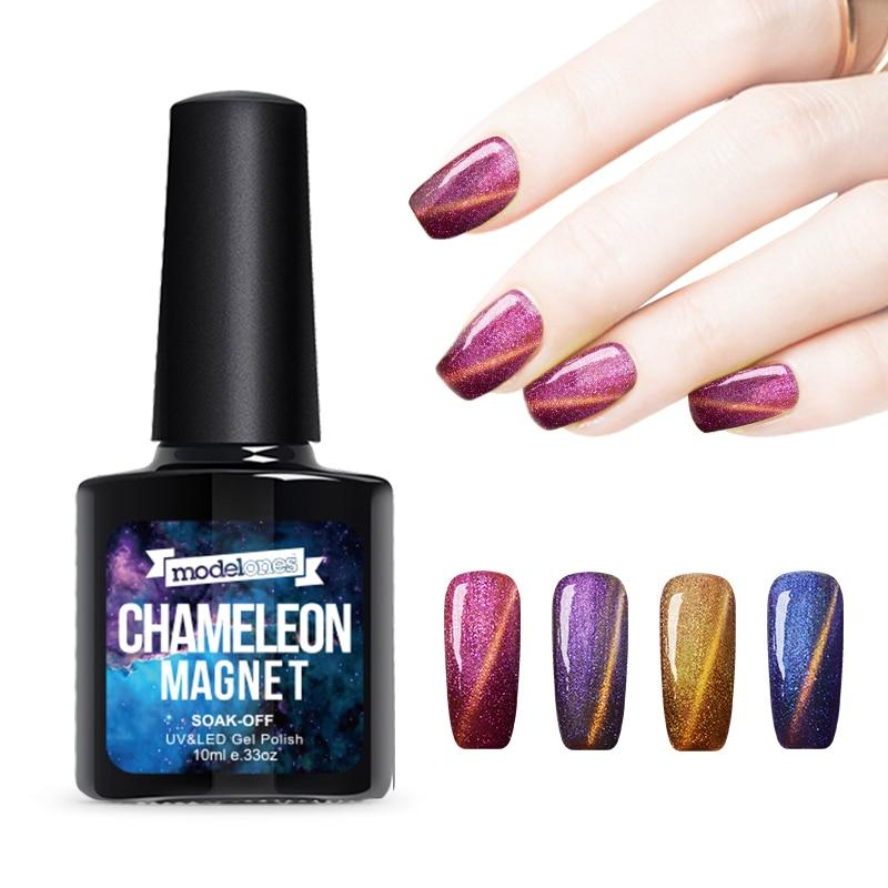 Modelones 1Pcs 10ml UV Chameleon Gel Nail 3D Magnetic Cat Eye Soak Off UV Gel Polish Glitter Varnish 12 Color for choose